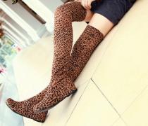 Hnědé leopard semišové kozačky