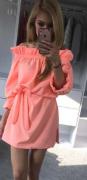 Sexy šaty s volánem a mašlí coral