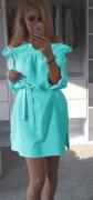 Sexy šaty s volánem a mašlí modré