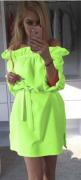 Sexy šaty s volánem a mašlí zelené