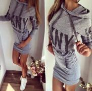 Dámské šaty s kapucí šedé