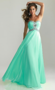 Plesové šaty bez ramen MINT