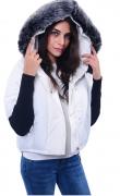 Dámská bunda s úpletovým rukávem, s kapucí