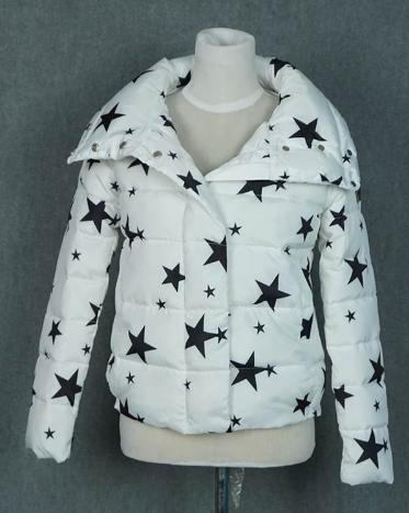 Dámská zimní bunda s motivem hvězdy