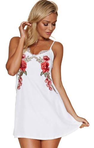 Dámské šaty s motivem růže - Bílé