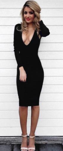 Dámské šaty výstřih - Černé