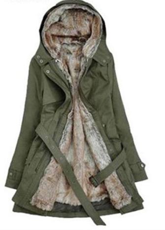 Dlouhý kabát s kožíškem, kapucí a podšívkou HeGrand