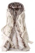 Dlouhý kabát s kožíškem, kapucí a podšívkou - Béžový HeGrand