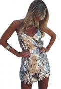 Letní lesklé šaty STŔÍBRO