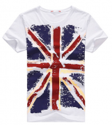 Pánské tričko vlajka - Bílé
