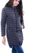 Prošívaná bunda s kapucí, dlouhá