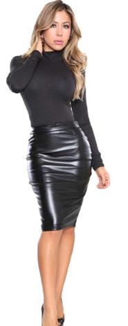 Dámská sukně koženková 5 barev - Černá