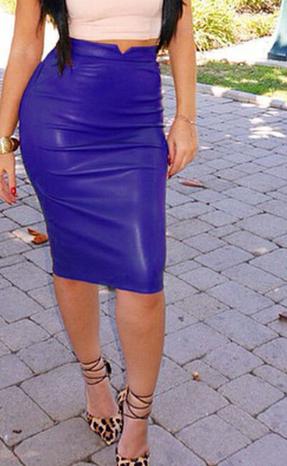 Dámská sukně koženková 5 barev - Modrá
