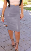 Dámská sukně koženková 5 barev - Šedá