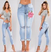 Dámské džíny s motivem růže