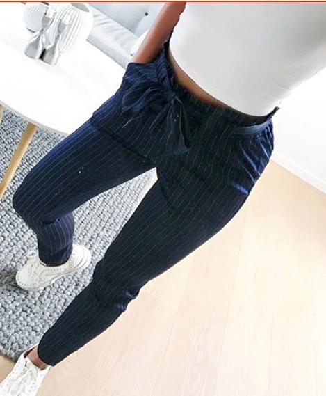Dámské kalhoty s proužkem - Černé