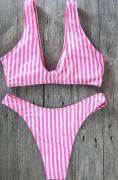 Dámské plavky růžové, proužek