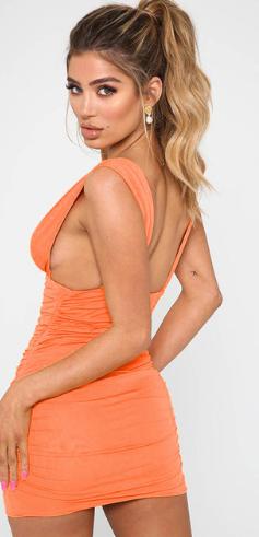 Dámské šaty bez rukávů - Oranžové