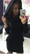 Dámské šaty s kapucí černé