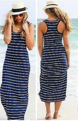 Dlouhé pruhované šaty bez rukávu