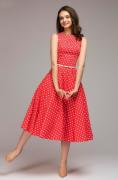 Elegantní šaty puntík - Hnědé