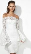 Krajkové šaty se širokým rukávem - Bílé