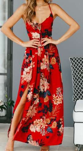 Letní šaty s rozparkem - Červené