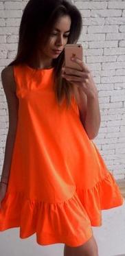 Letní šaty s volánem - Oranžové