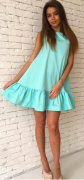 Letní šaty s volánem - Světle modré