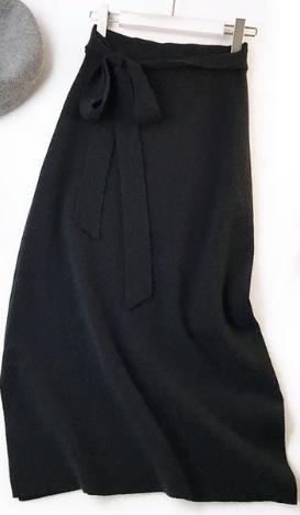 Pletená sukně s vysokým pasem