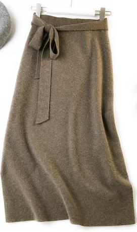 Pletená sukně s vysokým pasem - Hnědá