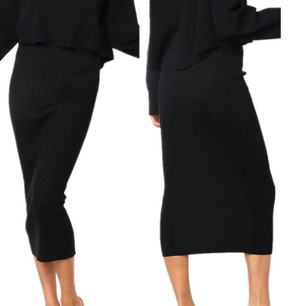 Pletená sukně úzká - Černá