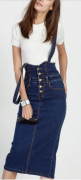 Riflová sukně s vysokým pasem