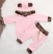 Souprava s kapucí růžovo-leopardí 2ks