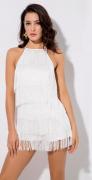Třásňové šaty bílé