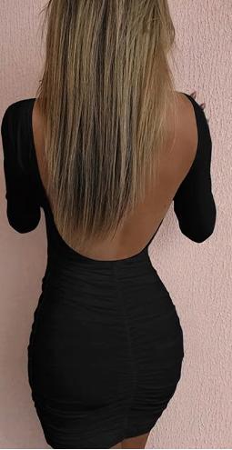 Upnuté šaty s holými zády - Černé