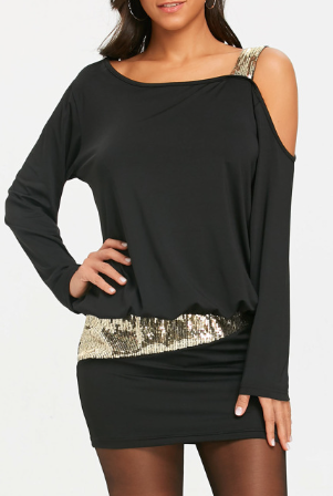 Černé šaty s holým ramenem