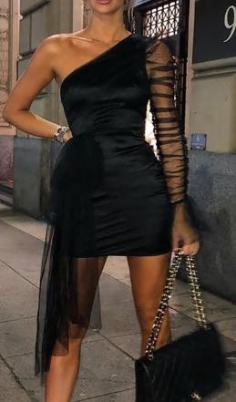 Černé večerní šaty s jedním rukávem