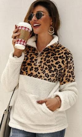Hřejivá mikina s leopardím vzorem