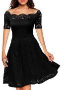 Krajkové šaty s krátkým rukávem - Vínová
