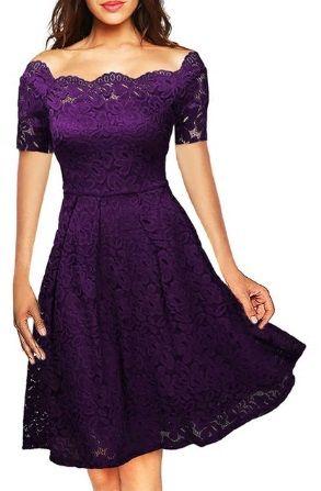 Krajkové šaty s krátkým rukávem - Fialová