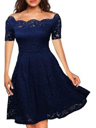 Krajkové šaty s krátkým rukávem - Modrá