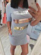 Šedé šaty s aplikací