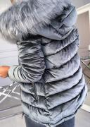 Třpytivá zimní bunda s kapucí