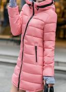 Dámská dlouhá bunda tmavě růžová