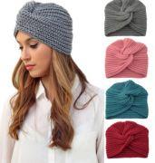 Pletený turban šedý