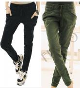Harémové pohodlné kalhoty zelené