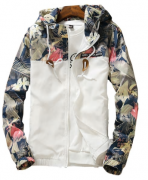 Dámská jarní bunda s květy bílá