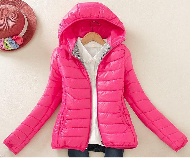 Dámská prošívaná bunda s kapucí RŮŽOVÁ