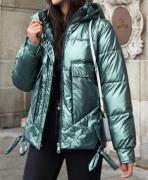 Dámská bunda lesklá s kapucí